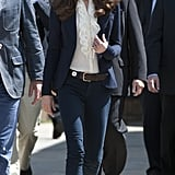 Kate wore the Smythe blazer in blue while visiting Alberta in 2011 for the North American royal tour.