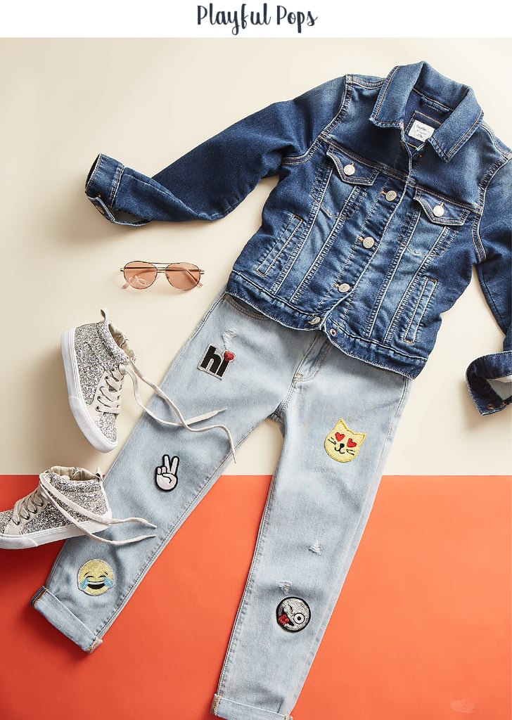 Pick out a t-shirt that's so very her to pair with these sequin patch girlfriend jeans ($49.95). Finish the outfit with a denim jacket ($39.95) for a look that is soft and trendy. Aviator sunglasses ($14.95) and flashy kicks that fit her taste, like these glitter hi-top sneakers ($54.95), take it to the next level of self-assuredness. Confidence-boosting tip: Sometimes kids do things that parents fear might lead to failure, but letting kids take safe risks (like experimenting with outfits) helps them build self-esteem and figure out how to tackle setbacks.