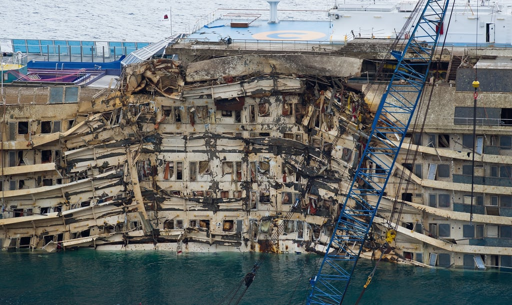 Severe damage could be seen on the Costa Concordia after the successful parbuckling operation.