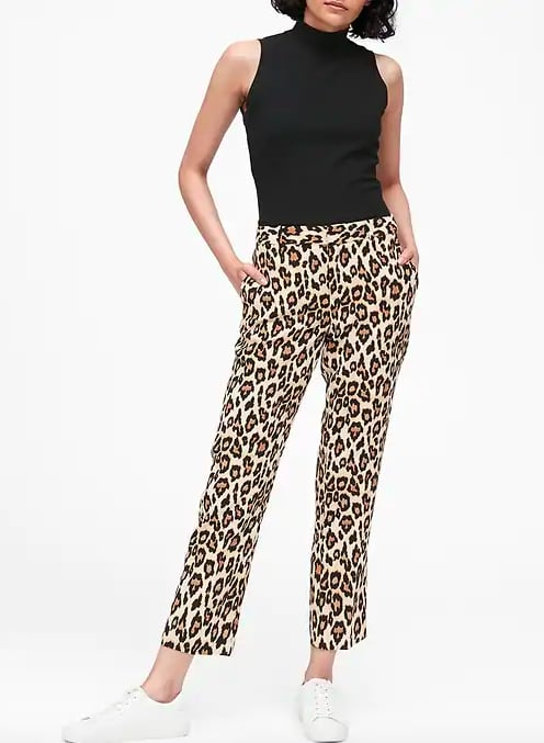 Straight-Fit Leopard Ankle Pant