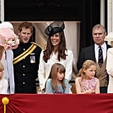 Kate was all smiles as she and the family greeted crowds on the balcony of Buckingham Palace.