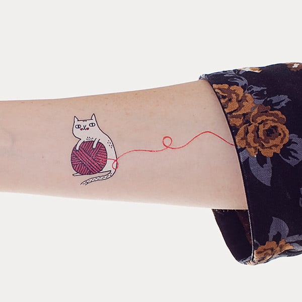 Red Yarn Temporary Tattoo ($5 for two)