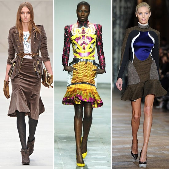 Fit-and-flare silhouettes were spotted on the Fall '12 runways of designers like Mary Katrantzou, Roksanda Ilincic, Moschino Cheap & Chic, and Kanye West to name a few. We love how they hug your curves like a traditional A-line pencil skirt, but the flared hemline adds such a fun, whimsical — and slightly seductive — touch.  From left to right: Burberry Prorsum, Mary Katrantzou, Stella McCartney