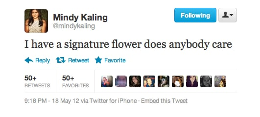 While some women have a signature scent, Mindy Kaling has a signature flower.