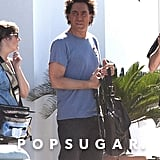 Javier Bardem wore a blue t-shirt on the set of The Counselor in Spain.