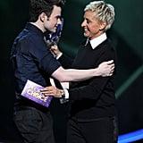 Chris Colfer and Ellen DeGeneres