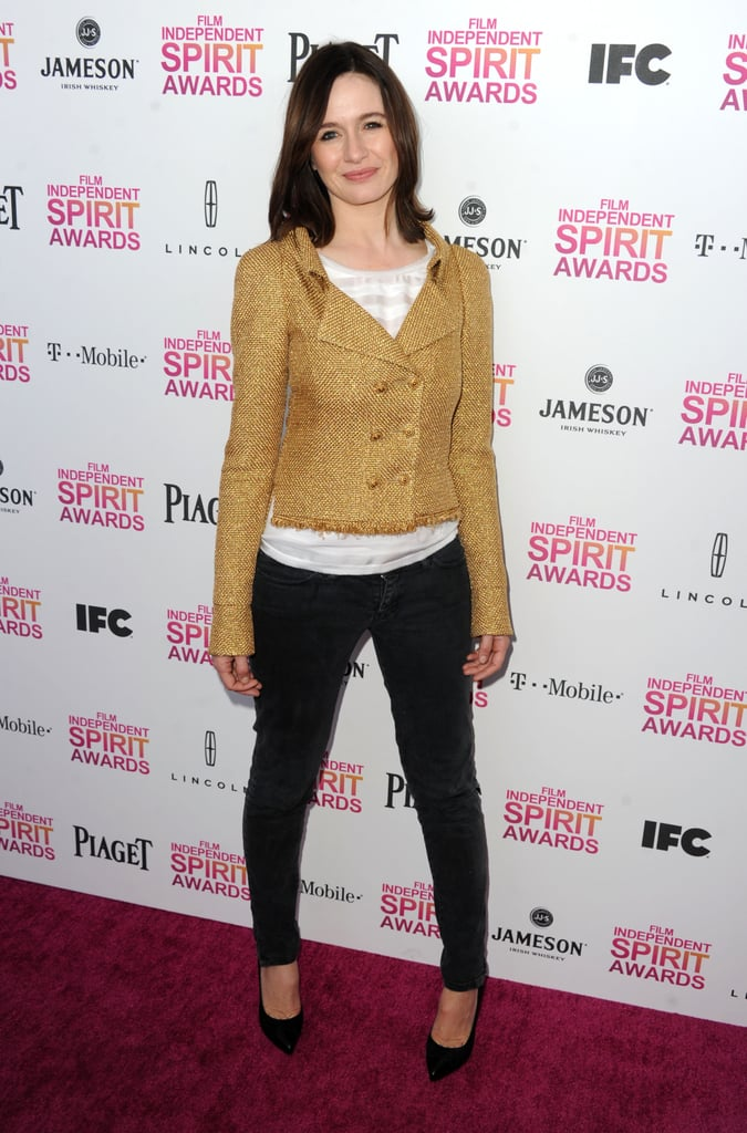 Emily Mortimer kept it low-key in black trousers, a white top, and a gold double-breasted blazer.
