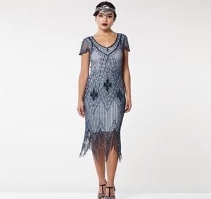 Annette Fringe Flapper Dress In Blue Grey