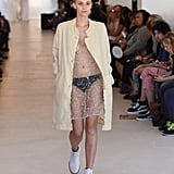 She also walked during Fashion Week. Here she is slaying the Eckhaus Latta runway.