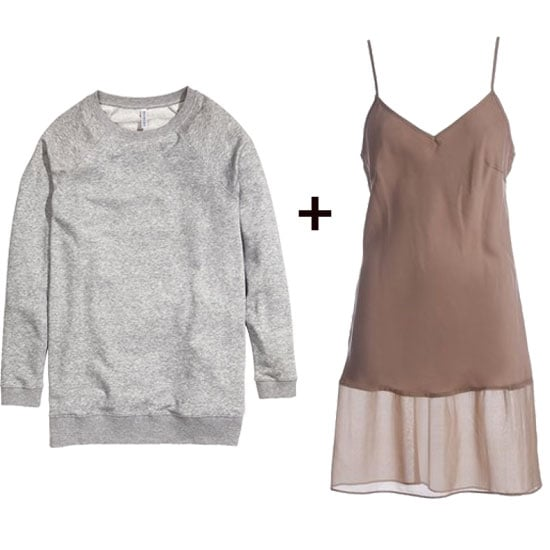 Give a sheer-hemmed slip dress a little more substance with a sporty sweatshirt layered up top. The girlie-meets-athletic look is perfect for adding wedged ankle boots, or maybe a wedged sneaker. Shop the look:  H&M Sweatshirt ($18) Gold Hawk Silk Dress ($161)