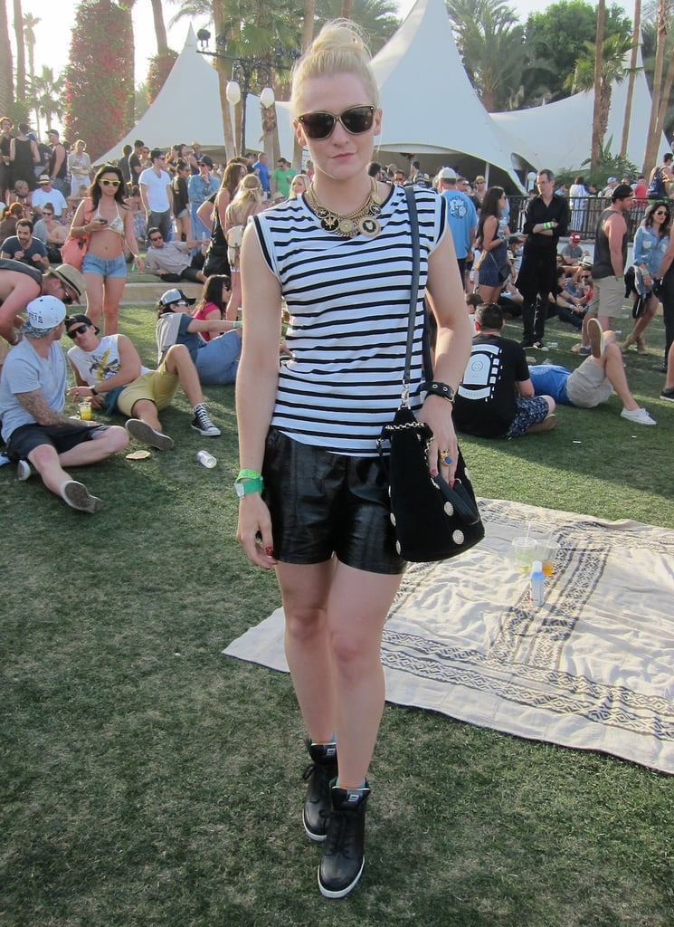 POPSUGAR editor Lindsay Miller looked sporty cool in a topknot. Photo: Chi Diem Chau