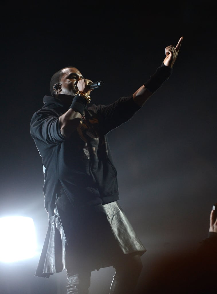 Kanye West wore all black to perform in NYC.