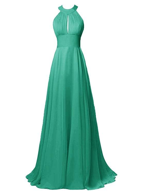 Tideclothes Chiffon Halter Bridesmaid Dress