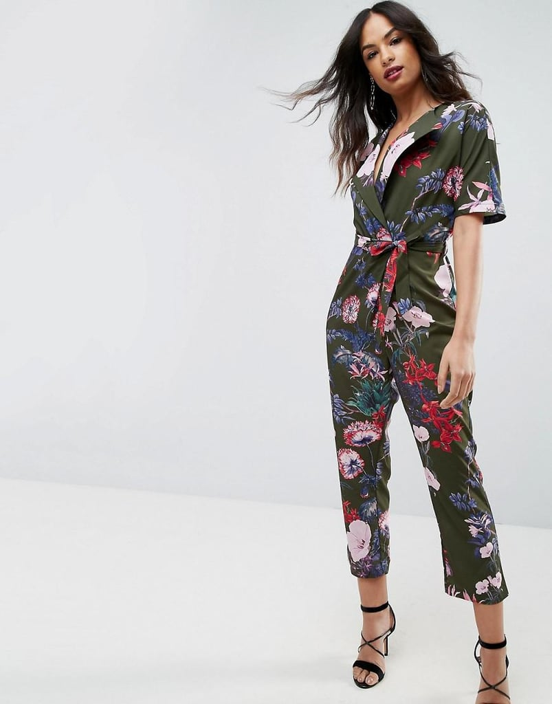 edb4117a8905 Asos Wrap Jumpsuit With Self Belt in Print