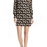 Milly Cheetah Print High Neck Silk Dress