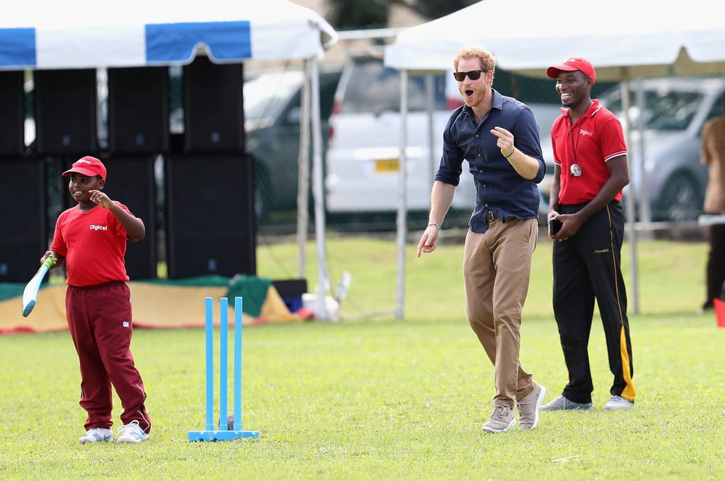 In November, Harry got adorably animated while playing a game of cricket at Queen Park Ground in St. George's, Grenada during his two-week tour of the Caribbean.