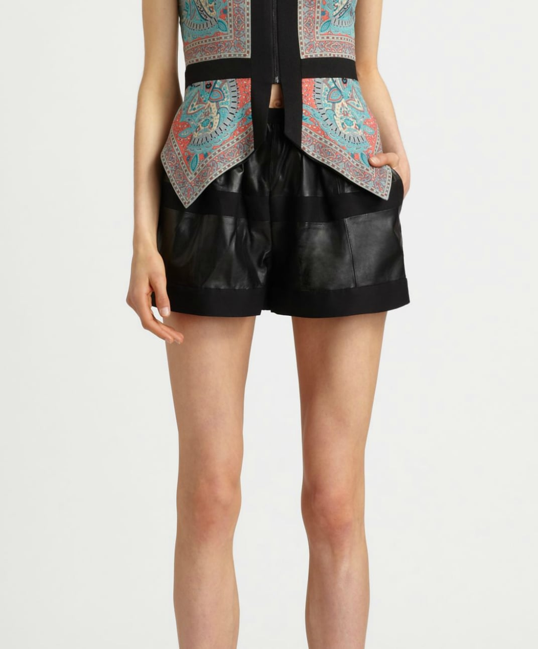 Thanks to the flattering roomy fit, these BCBG Max Azria Annika Leather Panel Shorts ($336, originally $448) will make you look like you have legs for days.