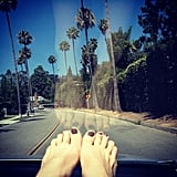 Jaime King rode shotgun on a sunny day. Source: Instagram user jaime_king