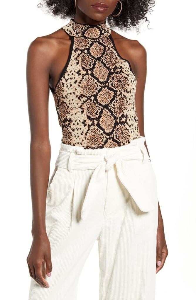 J.O.A. Snakeskin Jacquard Sleeveless Sweater