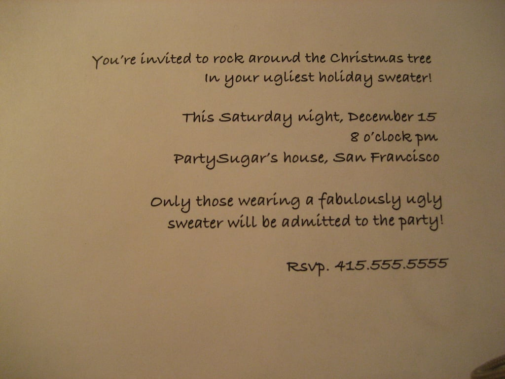 Come Party With Me: Ugly Sweater — Invites