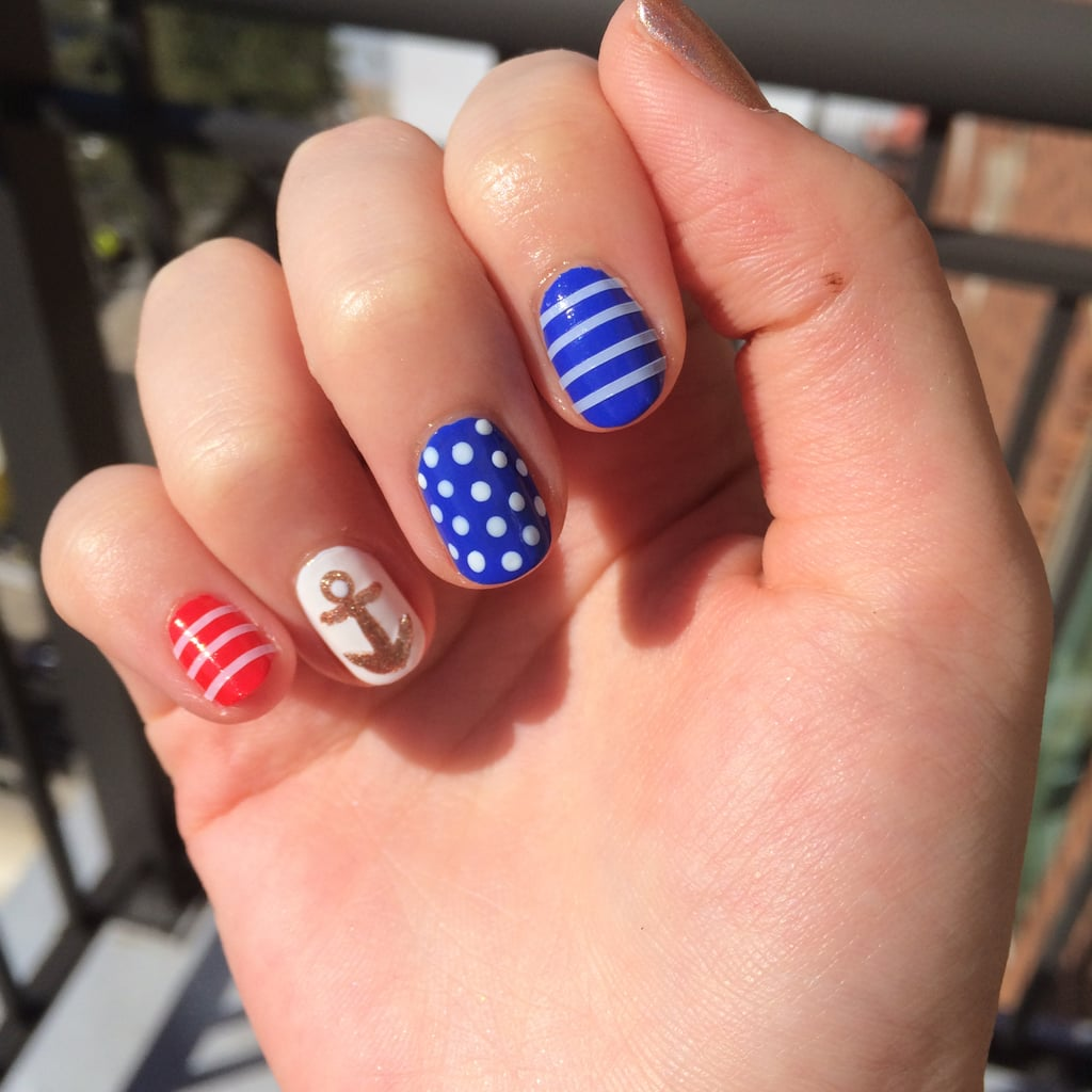 Nautical Nail Art How-To | POPSUGAR Beauty