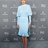 Gigi Hadid Wore a Blue Beaded Bag With Her Burberry Dress
