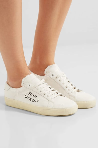 Saint Laurent Court Classic Leather-trimmed Distressed Cotton Sneakers - Off-white