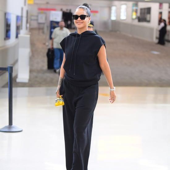 Rihanna Carrying Tiny Yellow Taxi Bag at Airport