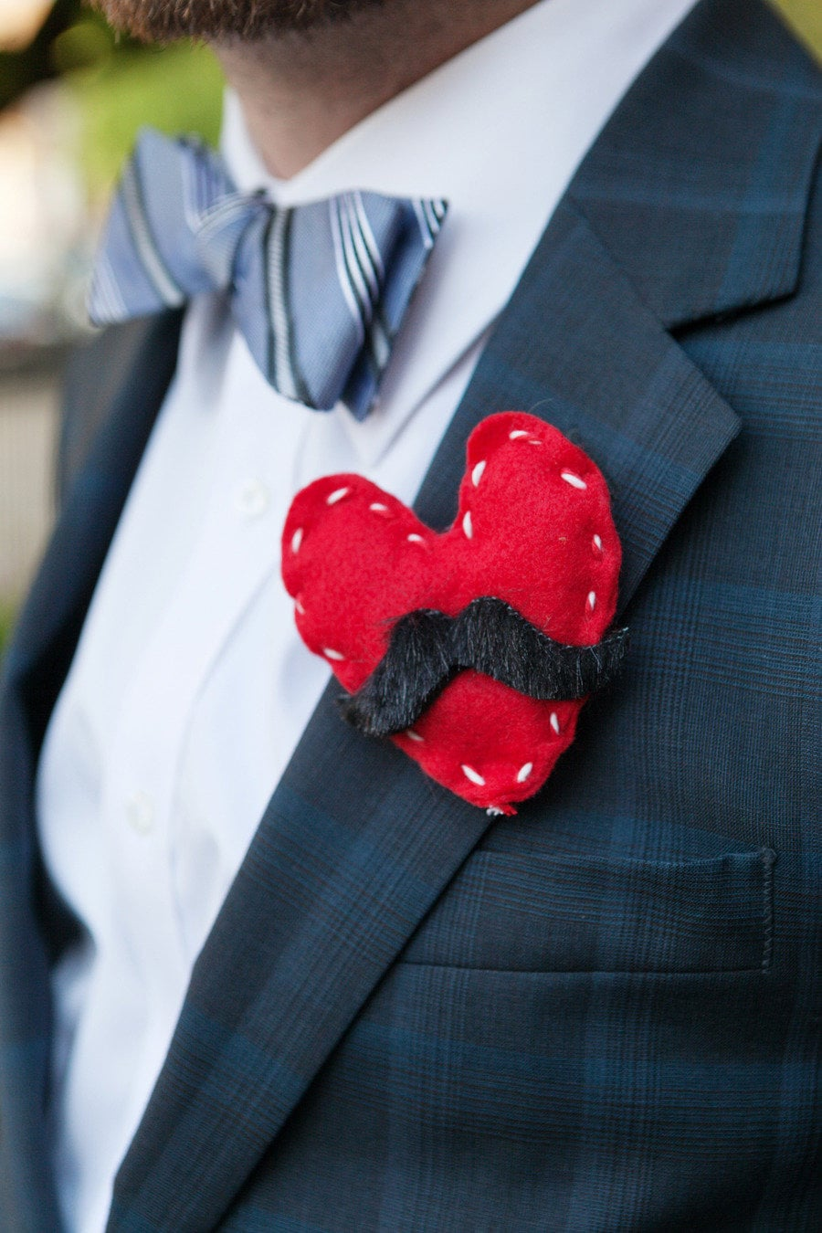 Mustached Heart Boutonniere