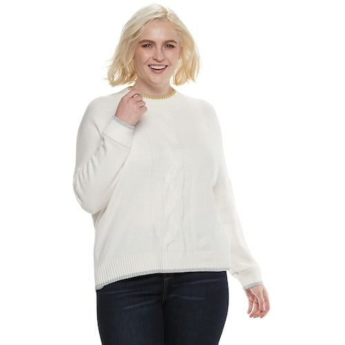 Plus Size POPSUGAR Cable-Knit Sweater