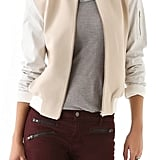 The leather sleeves on this Antipodium Candestiny Bomber Jacket ($389) lend a hip, modern edge.