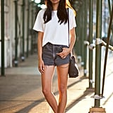 Never underestimate the crisp cool of a white tee and cutoffs for Summer.