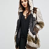 Urban Code Faux Fur Hooded Coat In Abstract Fur