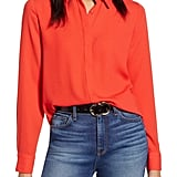 Halogen Hidden Button Long-Sleeve Blouse