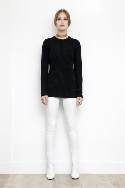 Ribbed Cashmere Sweater With Leather Ties in Charcoal ($850), Sweet Revenge Stretch Nappa Legging Boot in Cream ($2,395) Photo courtesy of Tamara Mellon