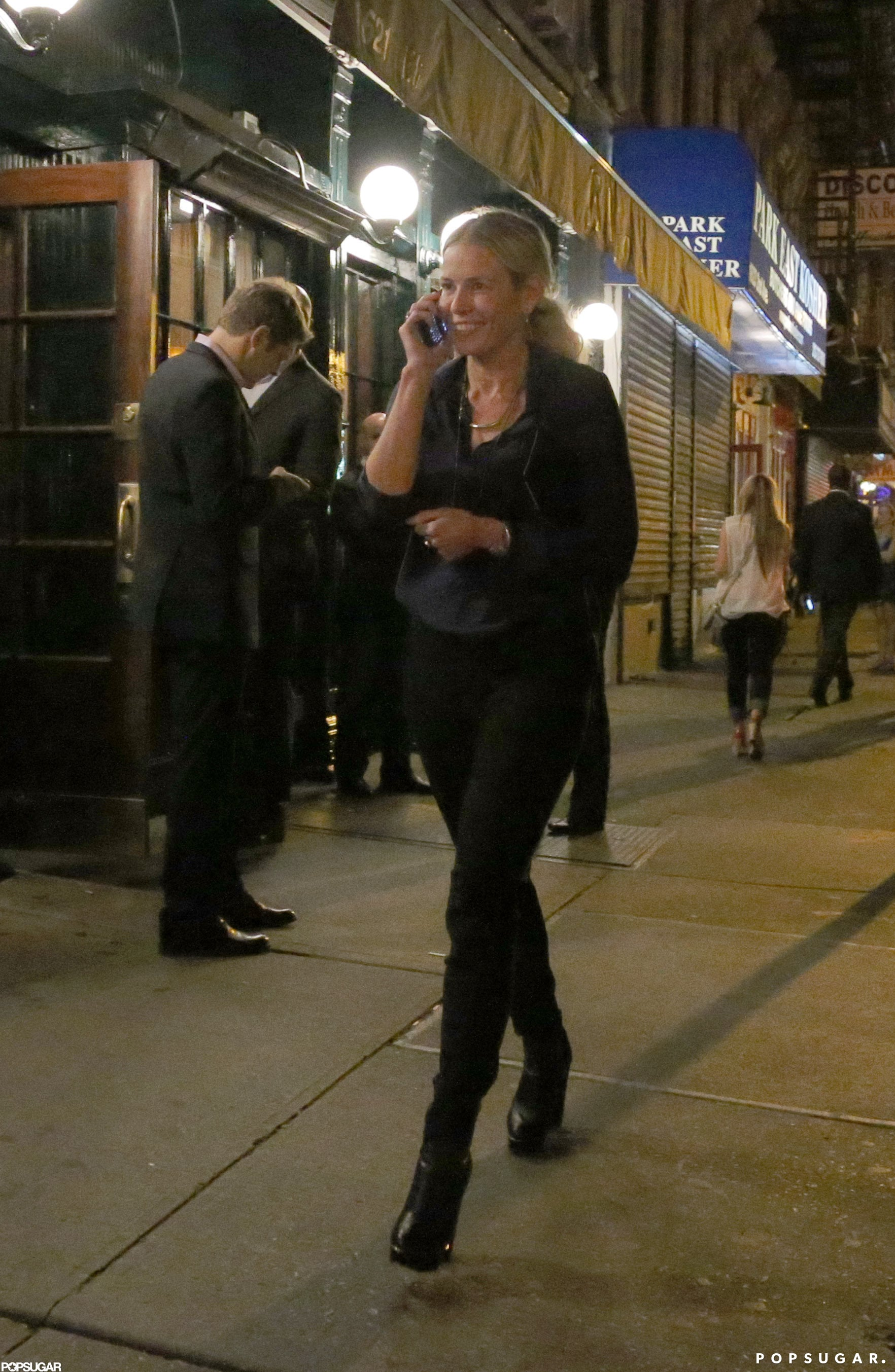 Chelsea Handler smiled outside of Gwyneth's NYC event.