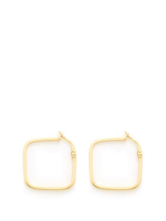 Love GOLD 9ct Gold Square Hoop Earrings