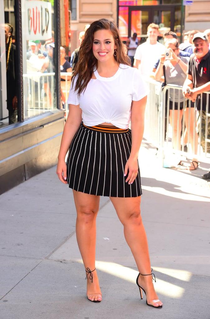 Ashley Graham Wearing Striped Miniskirt