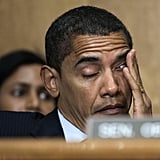 Struggling to stay awake at a Senate Homeland Security Committee meeting in 2007
