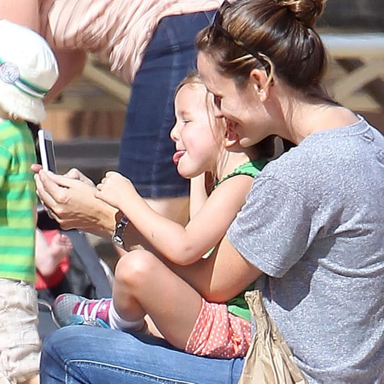 Jennifer Garner and Seraphina Affleck at a Pumpkin Patch