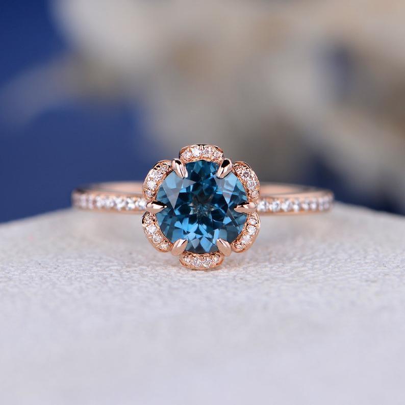 Unique London Blue Topaz Vintage-Inspired Rose Gold Engagement Ring