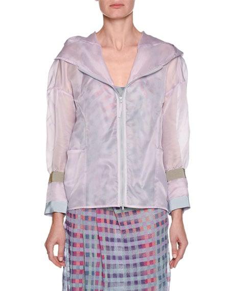 Emporio Armani Silk Organza Hooded Anorak Jacket