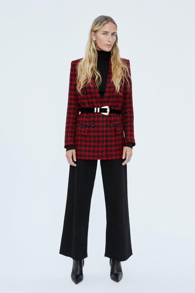 Zara Long Houndstooth Blazer