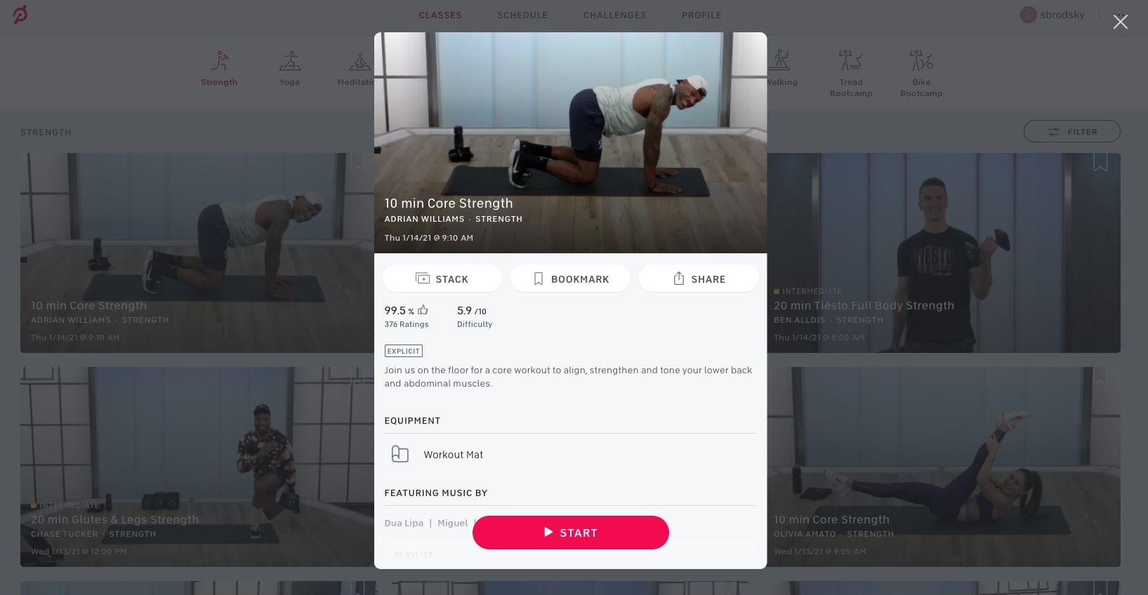 Peloton's new stack feature