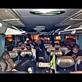 The USA's basketball team relaxed on the bus following a game. Source: Instagram user cp3