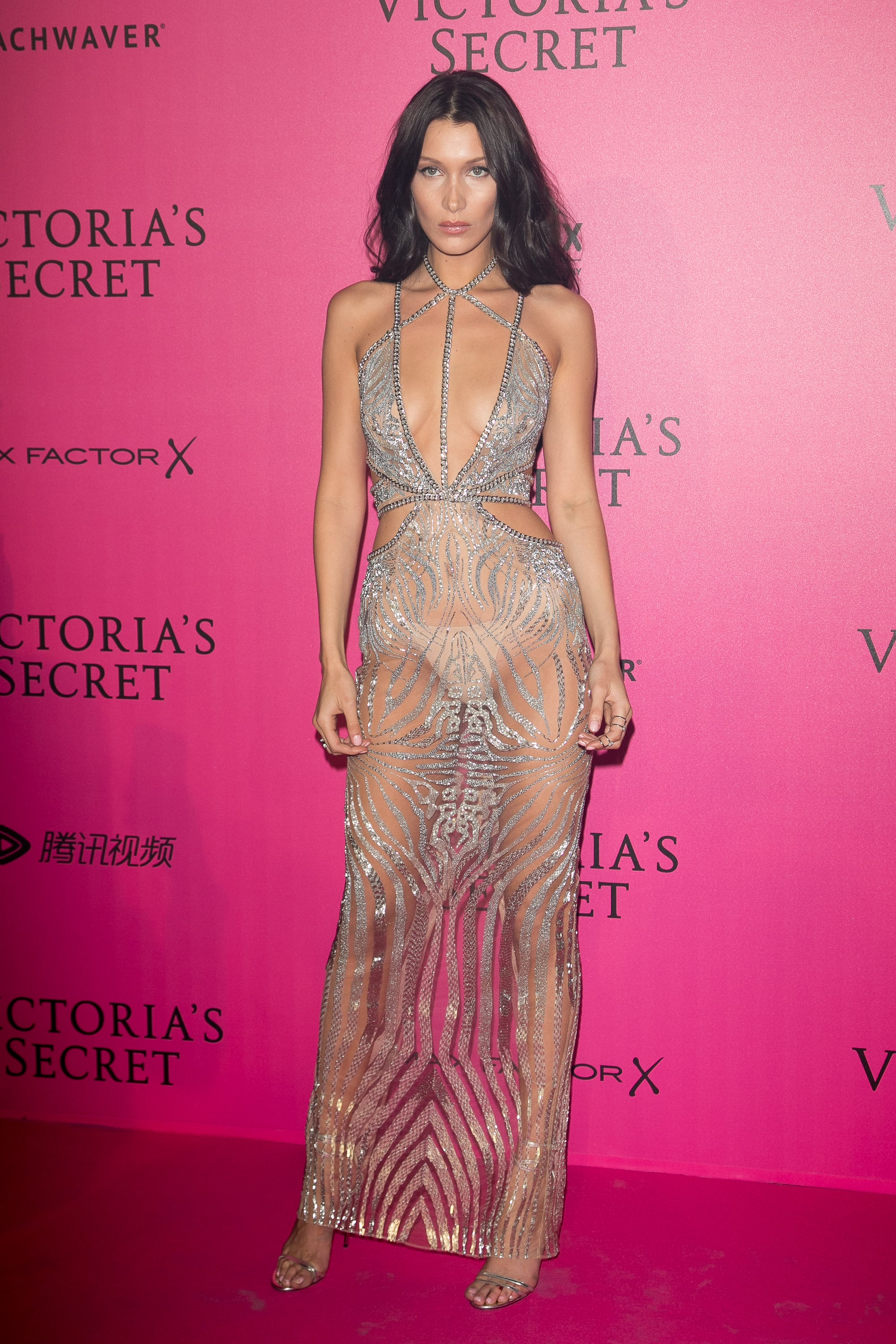 PARIS, FRANCE - NOVEMBER 30: Bella Hadid attends '2016 Victoria's Secret Fashion Show' after show photocall at Le Grand Palais on November 30, 2016 in Paris, France.  (Photo by Marc Piasecki/WireImage)