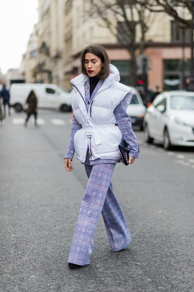 For the bold dressers out there, invest in a purple suit set. This combined with a Moncler puffy vest (as pictured on this show-goer) is probably one of our favorite outfits.