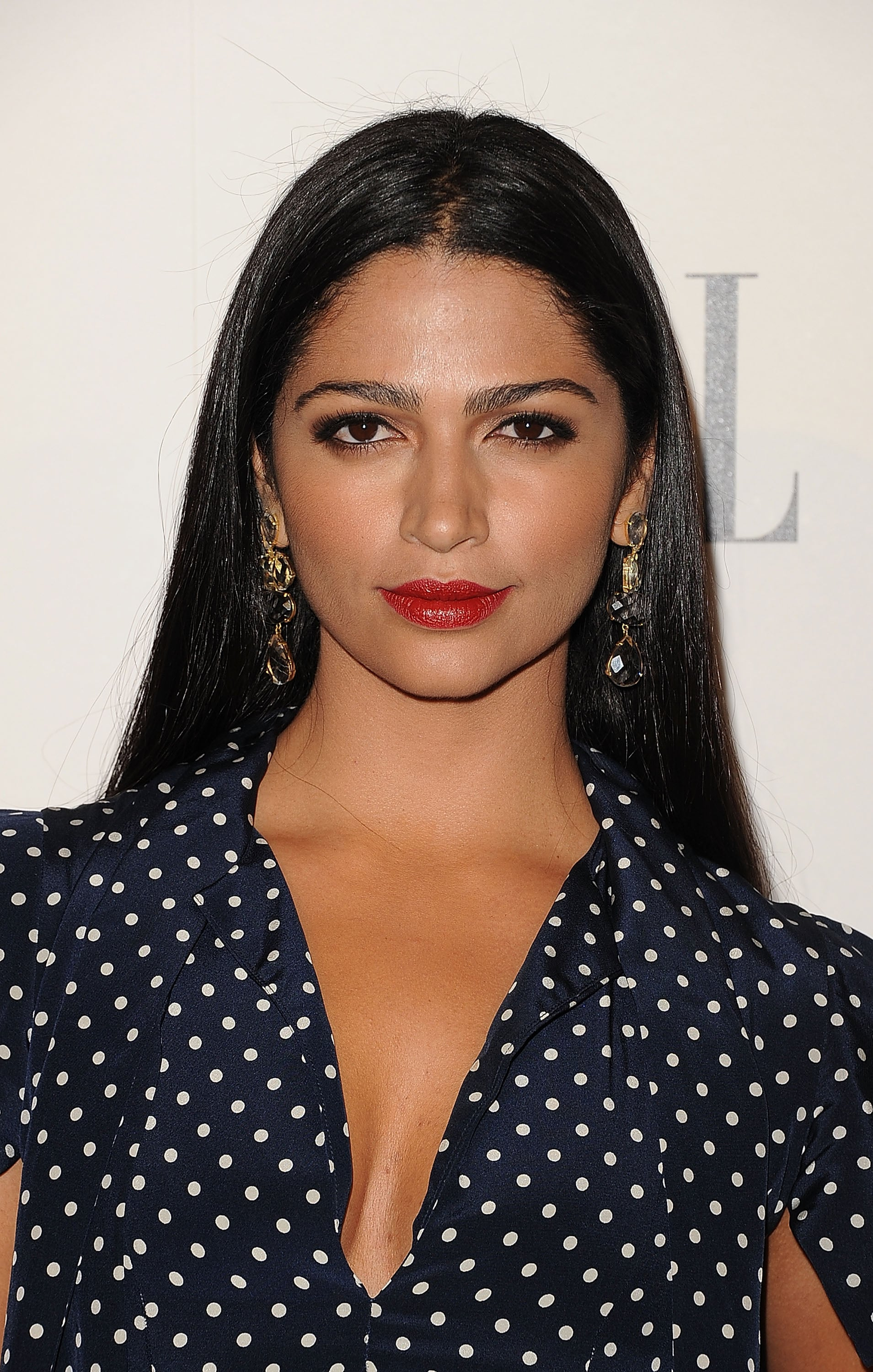 Camila Alves in a polka-dot dress.