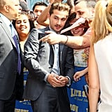 Shia LaBeouf said hello to several waiting fans in NYC.