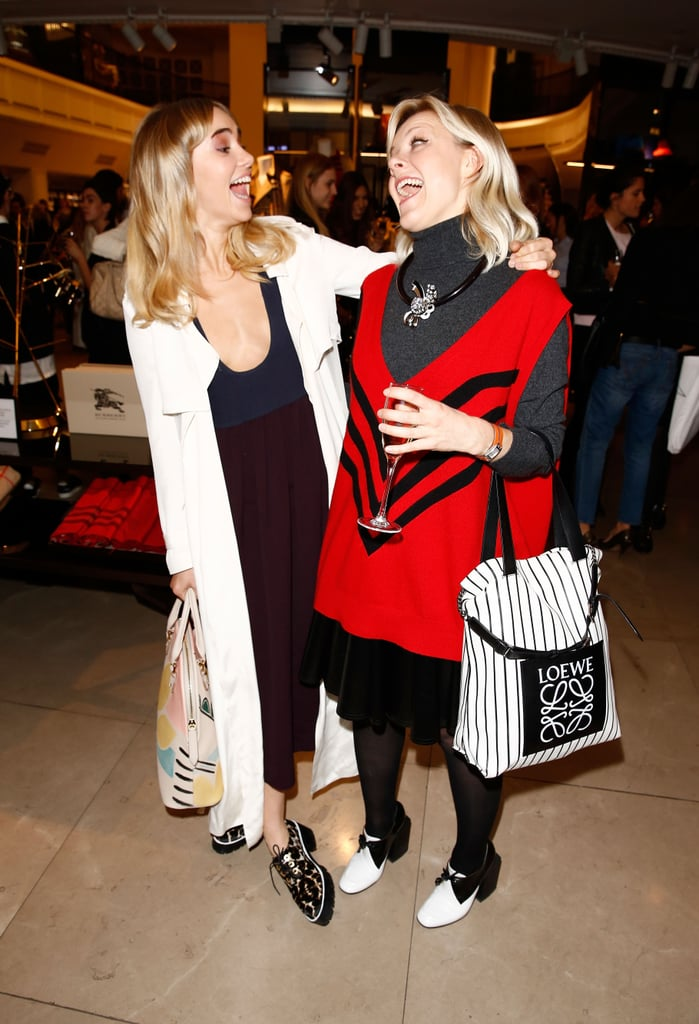 Suki Waterhouse and Fran Burns had a good time at Burberry during Vogue's Fashion's Night Out.